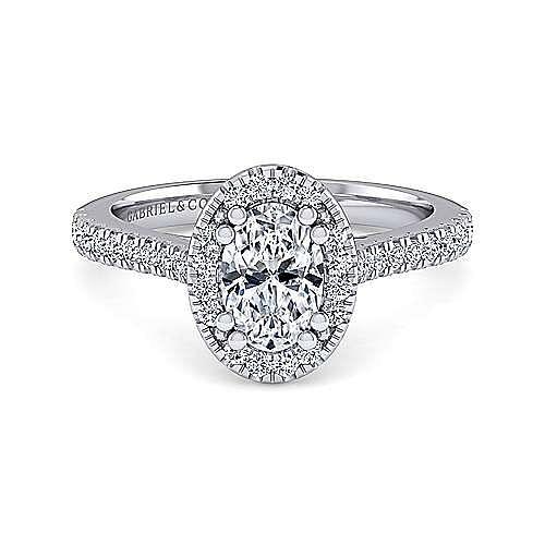 Gabriel - Lyla 14k White Gold Oval Halo Engagement Ring
