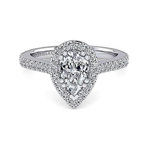 Gabriel - Lyla 14k White Gold Pear Shape Halo Engagement Ring
