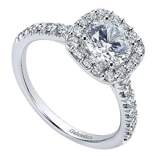 Lyla 14k White Gold Round Halo Engagement Ring angle 3