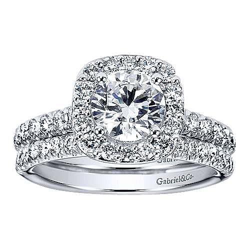Lyla 14k White Gold Round Halo Engagement Ring angle 4