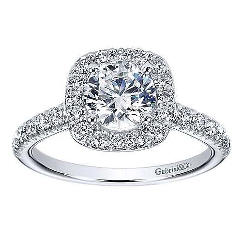 Lyla 14k White Gold Round Halo Engagement Ring angle 5