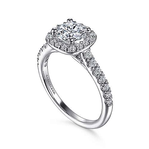 Lyla 14k White Gold Round Halo Engagement Ring