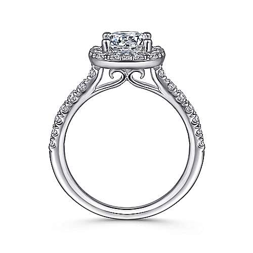 Lyla 14k White Gold Round Halo Engagement Ring angle 2