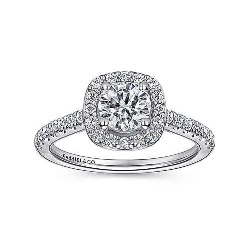 Lyla 14k White Gold Round Halo Engagement Ring angle 5