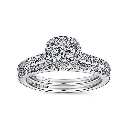 Lyla 14k White Gold Round Halo Engagement Ring angle 4