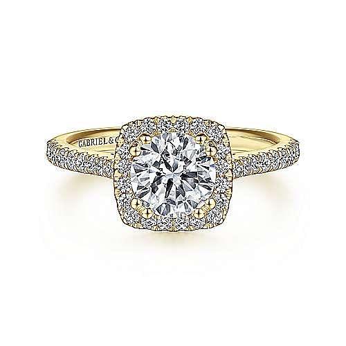 Lyla 14k Yellow Gold Round Halo Engagement Ring angle 1
