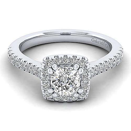 Lyla Platinum Cushion Cut Halo Engagement Ring angle 1