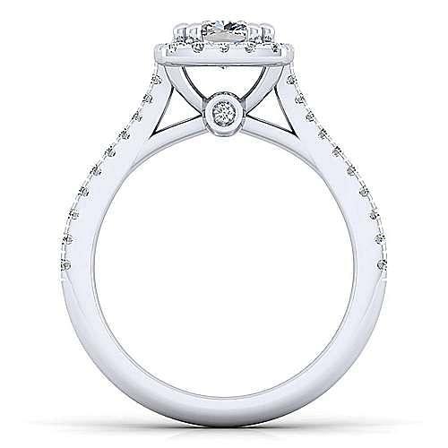 Lyla Platinum Cushion Cut Halo Engagement Ring angle 2