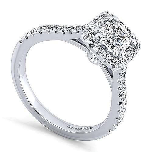 Lyla Platinum Cushion Cut Halo Engagement Ring angle 3
