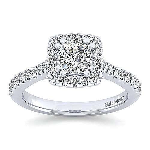 Lyla Platinum Cushion Cut Halo Engagement Ring angle 5