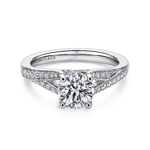 Lynley 14k White Gold Round Split Shank Engagement Ring angle 1