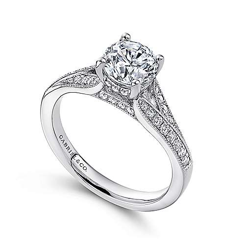 Lynley 14k White Gold Round Split Shank Engagement Ring angle 3