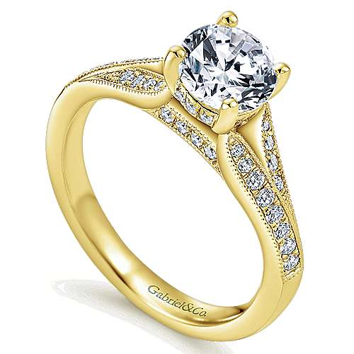 Lynley 14k Yellow Gold Round Split Shank Engagement Ring angle 3