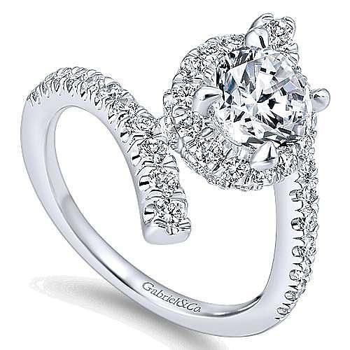 Lyra 14k White Gold Round Halo Engagement Ring angle 3