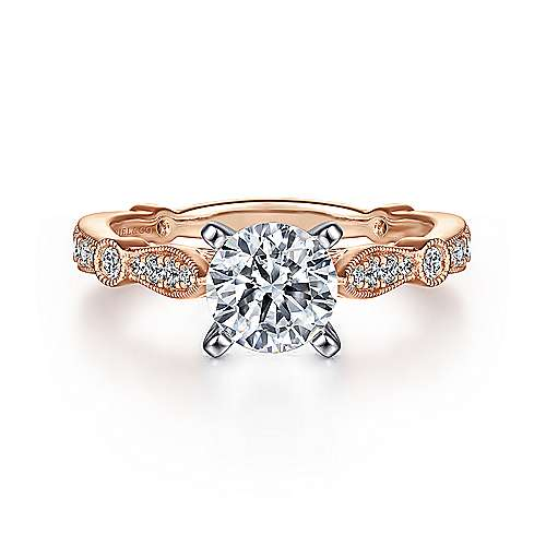 Mabel 14k White And Rose Gold Round Straight Engagement Ring angle 1