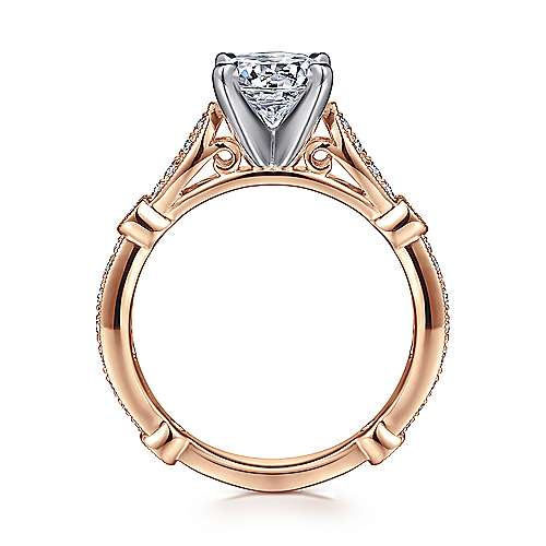 Mabel 14k White And Rose Gold Round Straight Engagement Ring angle 2