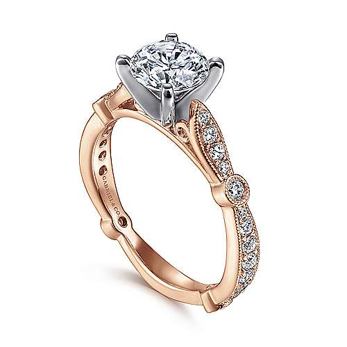 Mabel 14k White And Rose Gold Round Straight Engagement Ring angle 3