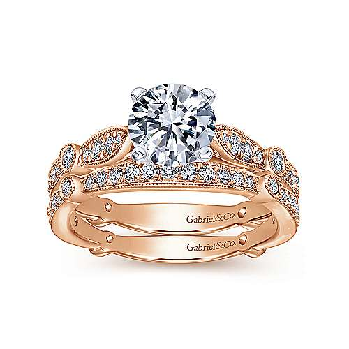 Mabel 14k White And Rose Gold Round Straight Engagement Ring angle 4