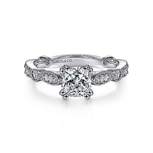 Gabriel - Mabel 14k White Gold Cushion Cut Straight Engagement Ring