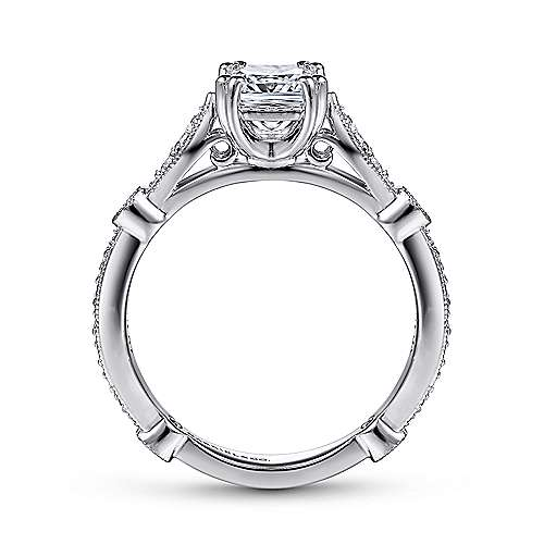 Mabel 14k White Gold Cushion Cut Straight Engagement Ring angle 2