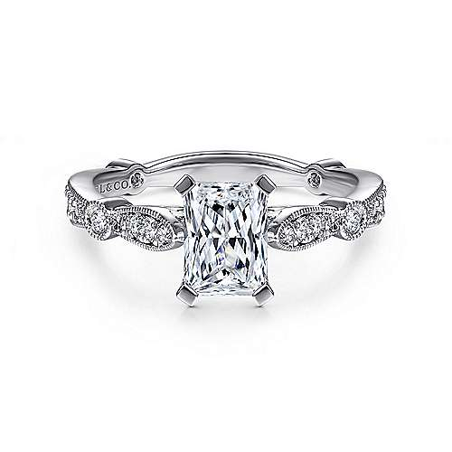 Gabriel - Mabel 14k White Gold Emerald Cut Straight Engagement Ring