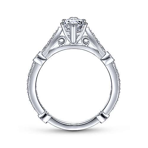 Mabel 14k White Gold Marquise  Straight Engagement Ring angle 2