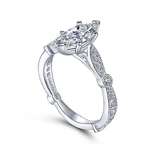 Mabel 14k White Gold Marquise  Straight Engagement Ring angle 3