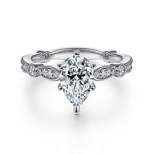 Gabriel - Mabel 14k White Gold Pear Shape Straight Engagement Ring