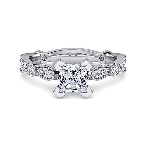 Mabel 14k White Gold Princess Cut Straight Engagement Ring angle 1
