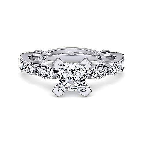 Gabriel - Mabel 14k White Gold Princess Cut Straight Engagement Ring