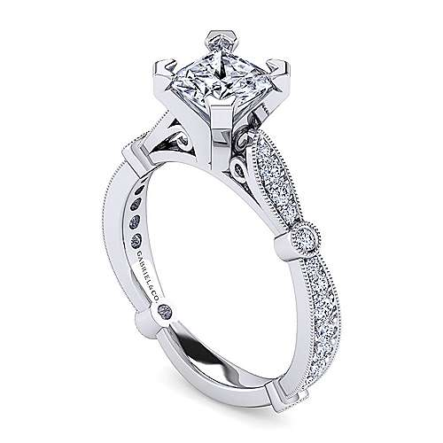 Mabel 14k White Gold Princess Cut Straight Engagement Ring angle 3