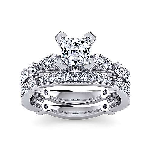 Mabel 14k White Gold Princess Cut Straight Engagement Ring angle 4