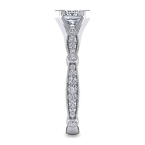 Mabel 14k White Gold Princess Cut Straight Engagement Ring angle 5