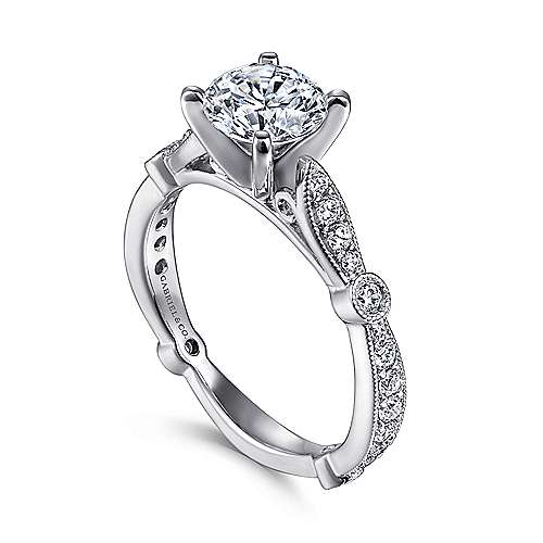 Mabel 14k White Gold Round Straight Engagement Ring angle 3