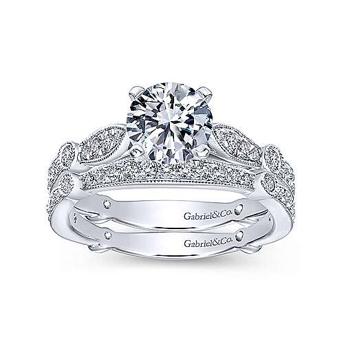 Mabel 14k White Gold Round Straight Engagement Ring angle 4
