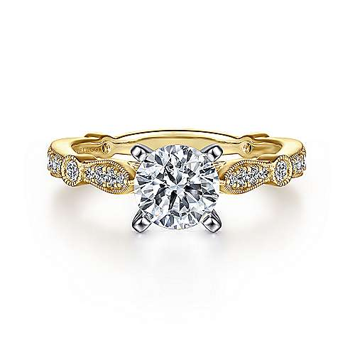 Gabriel - Mabel 14k Yellow And White Gold Round Straight Engagement Ring