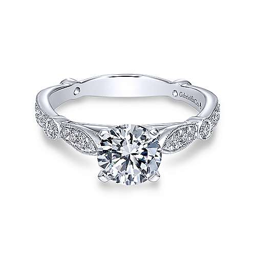Gabriel - Mabel 18k White Gold Round Straight Engagement Ring