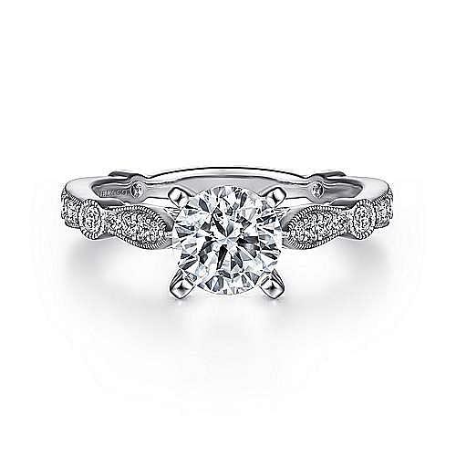 Gabriel - Mabel Platinum Round Straight Engagement Ring