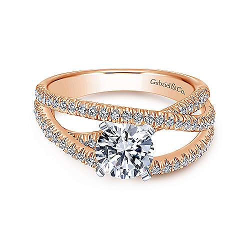 Gabriel - Mackenzie 14k White And Rose Gold Round Free Form Engagement Ring