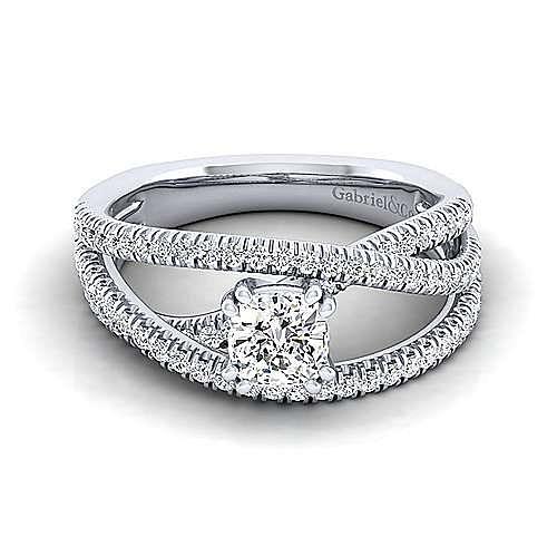 Gabriel - Mackenzie 14k White Gold Cushion Cut Free Form Engagement Ring