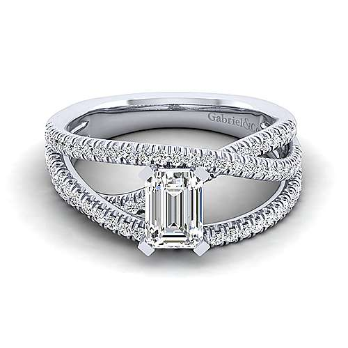 Gabriel - Mackenzie 14k White Gold Emerald Cut Free Form Engagement Ring