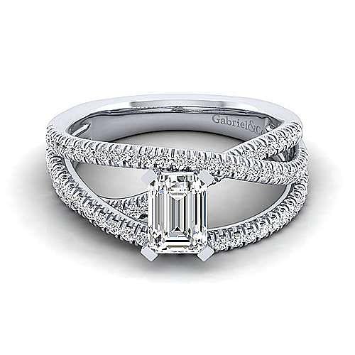 Gabriel - Mackenzie 14k White Gold Emerald Cut Free Form Engagement Ring