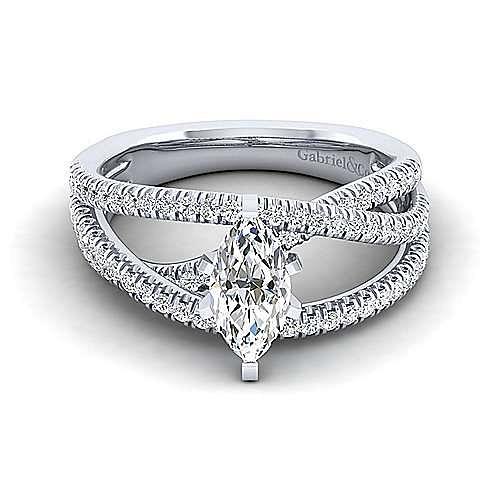 Gabriel - Mackenzie 14k White Gold Marquise  Free Form Engagement Ring