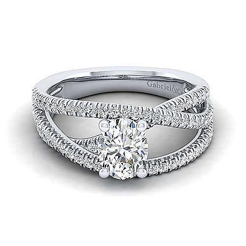Gabriel - Mackenzie 14k White Gold Oval Free Form Engagement Ring