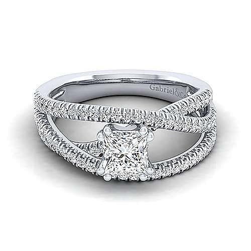 Gabriel - Mackenzie 14k White Gold Princess Cut Free Form Engagement Ring