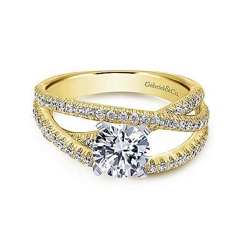 Gabriel - Mackenzie 14k Yellow And White Gold Round Free Form Engagement Ring
