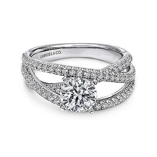 Gabriel - Mackenzie Platinum Round Free Form Engagement Ring