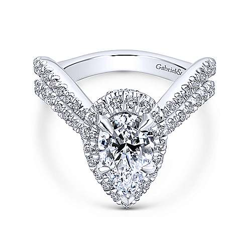 Gabriel - Madeleine 18k White Gold Pear Shape Halo Engagement Ring