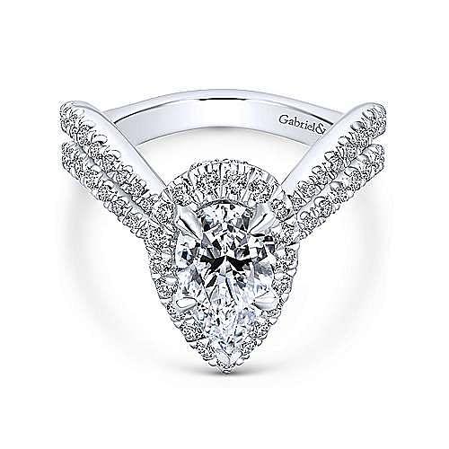 Madeleine 18k White Gold Pear Shape Halo Engagement Ring