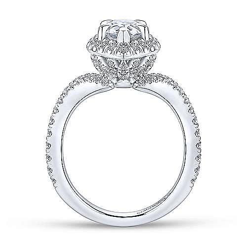Madeleine 18k White Gold Pear Shape Halo Engagement Ring angle 2